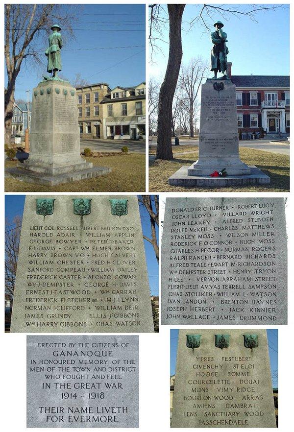 Gananoque War Memorial - Gananoque, Ontario. Source: CVWM
