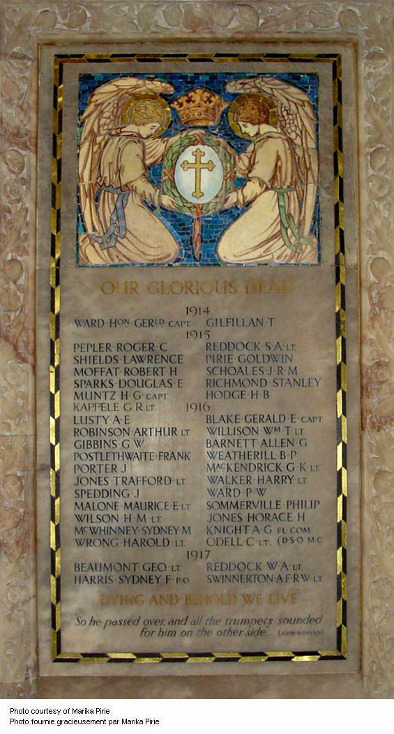 Inscription – World War One memorial tablet set in the chancel screen at St. Paul's (Anglican), Toronto, Ontario. The screen is in three sections, with the two outside sections displaying the tablets. The chancel screen includes statues of twelve historic figures including Admiral Earl Beatty, King George V, Earl Kitchener, Marshal Foch, Earl Haig, and Lord Byng of Vimy. The screen was the work of Messrs. J. Wippell & Co., of Exeter, England. The great chancel war memorial windows are located above. These are inscribed: 'To the Greater Glory of God and in Everlasting Remembrance of the Men of St. Paul's Parish who gave their lives in Defence of Justice, Liberty and Truth, A.D. 1914-1919.' They were unveiled in 1921 by the Governor-General of Canada, Baron Byng of Vimy. Another World War One memorial window in honour of the men named on the tablets is located on the east wall of the Nave. The panels include fragments of glass from 70 buildings in the war zones. It was unveiled by Baron Byng of Vimy in 1922. Both windows were manufactured by Robert McCausland Ltd. of Toronto. Photo by Marika Pirie. Source: CVWM