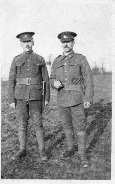 Photo of William Whittlesea – William (on left) with army comrade. Source: CVWM