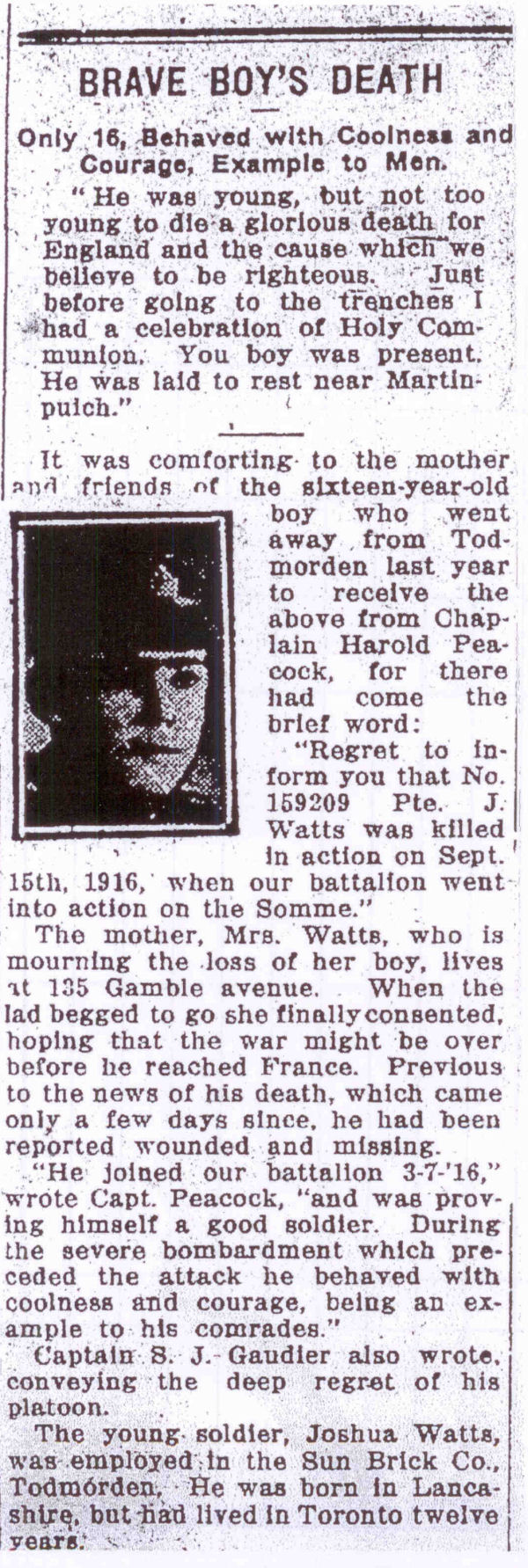 Newspaper clipping – Brave Boy's Death. Source: CVWM