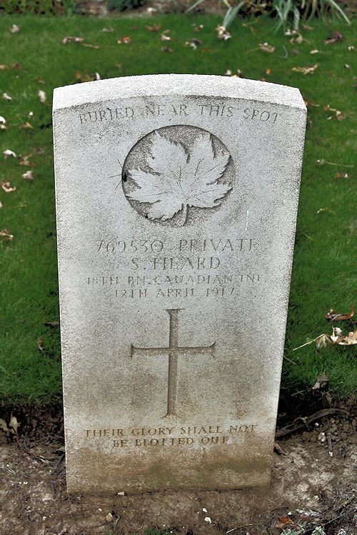 Grave Marker – Grave Marker – The grave marker at the Nine Elms Cemetery located outside Roclincourt, France. It is located about 5 kilometres from Canada's Vimy Memorial. May he rest in peace. (John & Anne Stephens 2013). Source: CVWM