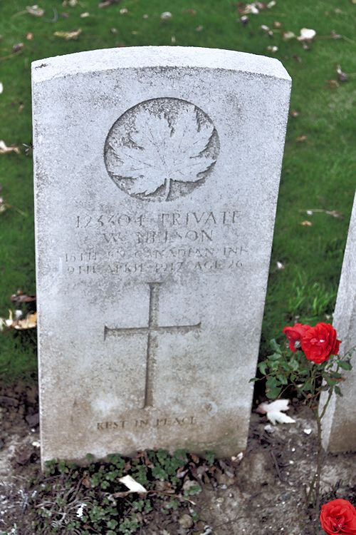 Grave Marker – – The grave marker at the Nine Elms Cemetery located outside Roclincourt, France. It is located about 5 kilometres from Canada's Vimy Memorial. May he rest in peace. (John & Anne Stephens 2013). Source: CVWM