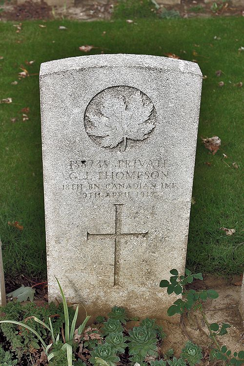 Photo of GEORGE JOHN THOMPSON – Grave Marker – The grave marker at the Nine Elms Cemetery located outside Roclincourt, France. It is located about 5 kilometres from Canada's Vimy Memorial. May he rest in peace. (John & Anne Stephens 2013). Source: CVWM