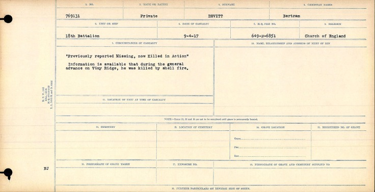 """Previously reported Missing, now Killed in Action"" Information is available that during the general advance on Vimy Ridge, he was killed by shell fire."