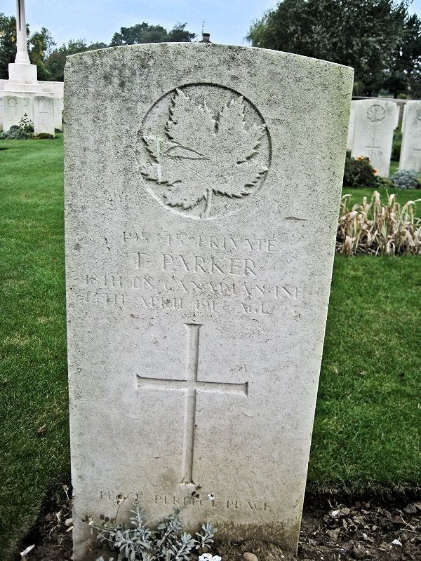 Grave Marker – The grave marker at the Bois Carre British Cemetery located on Vimy Ridge at the eastern edge of the town of Thelus, France. The cemetery is about 6 kilometres from Canada's Vimy Memorial. May he rest in peace. (John & Anne Stephens 2013). Source: CVWM