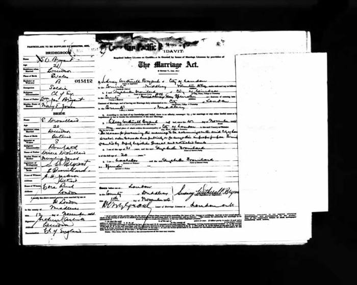 Marriage Certificate/Affidavit. Private Bryant and Mrs Bryant. Courtesy of of Dawn Heuston.