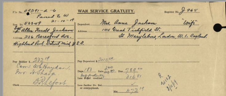 Private Bryant's friend, Sergeant Allen Harold Jackson, lived in Detroit, Michigan as this War Service Gratuity record clearly demonstrates.