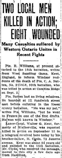 Source: Windsor Star. Circa September 1916. Via Dawn Hueston of the 18th Battalion Facebook Group.