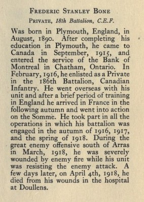 Biography – From Memorial from the Great War 1914-1918: a record of service published by the Bank of Montreal 1921. Source: CVWM