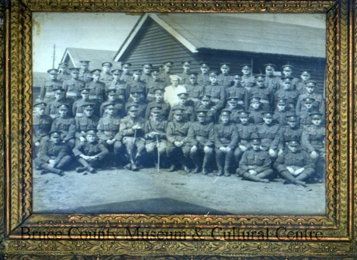 Part of 160th Battalion, No. 6 Platoon, in England. Source: Bruce County Museum