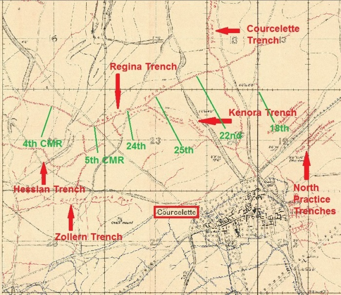 More detailed map showing Battalion position in relation to other units.