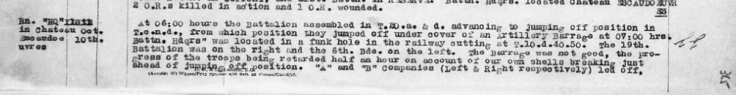 Page 1: 18th Bn. War Diary extract on October 10, 1918. This date Lt. Little and his Batman where taken prisoner.