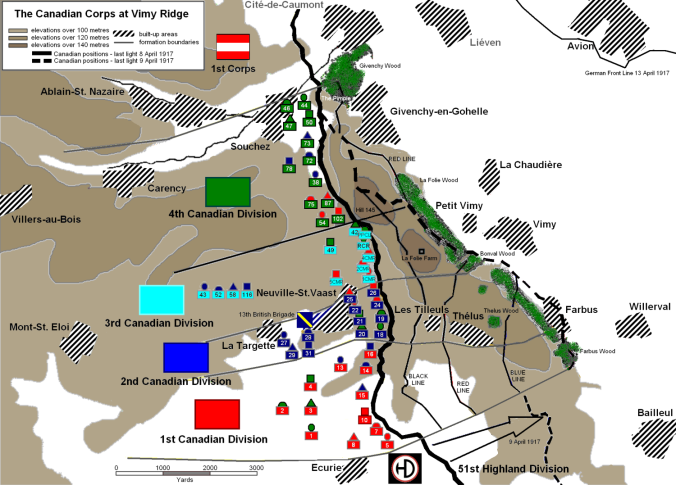A good map giving the position and disposition of the Canadian Corp and related units to the action at Vimy.