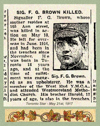 Newspaper Clipping – Pte. Frederick James Brown's name was misprinted in this newspaper article. His identity may be confirmed by his military attestation which includes the Ann street address. Source: CVWM