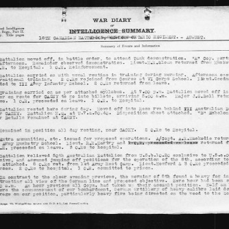 18th Battalion War Diary for August 1, 1918