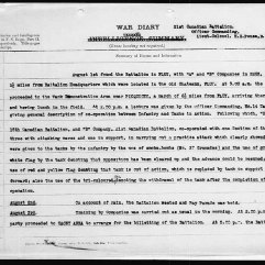 21st Battalion War Diary for August 1, 1918