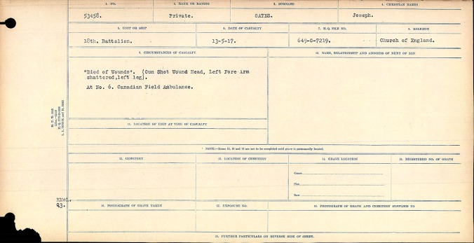 """""""Died of Wounds"""" Gun Shot Wound Head, Left Fore Arm shattered, left leg. At No. 6 Canadian Field Ambulance."""