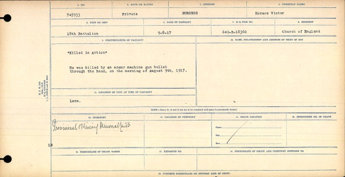 """""""Killed in Action"""" He was killed by an enemy machine gun bullet through the head, on the morning of August 9, 1917."""