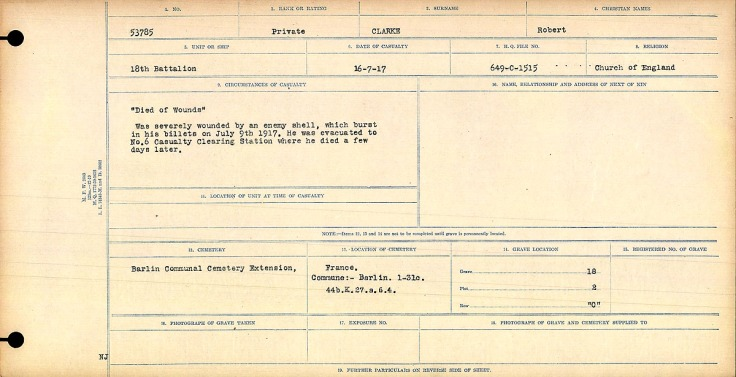 """""""Died of Wounds"""" Was severely wounded by an enemy shell, which burst in his billets on July 9th, 1917. He was evacuated to No. 6 Casualty Clearing Station, where he died a few days later."""