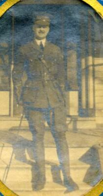 """Lieutenant with the 18th Battalion """"A"""" Company, C.E.F. Enlisted at Welland, Ontario, in August 1914. Following the war, returned to Oakville to 'remarry' Grace Freestone, with whom he had secretly wed before going to war."""
