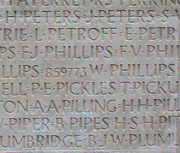 Inscription – His name as it is inscribed on the Vimy Memorial (2010). Over 11,000 fallen Canadians having no known place of burial in France, are honoured on this Memorial. May they never be forgotten. (J. Stephens). Source: CVWm