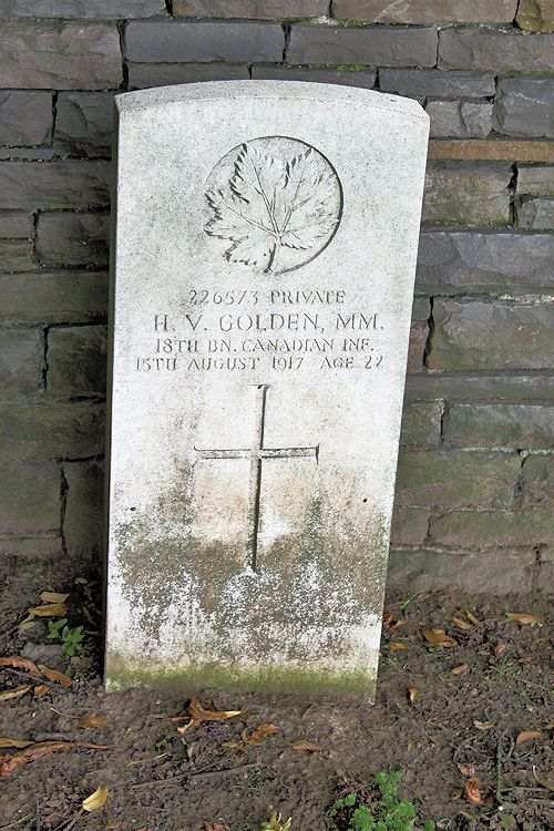 Grave Marker – The grave marker at the Canadian Cemetery No. 2 is located by the grounds of Canada's Vimy Memorial. The cemetery is about 6 kilometres north of Arras, France. May he rest in peace. (John & Anne Stephens 2013). Source: CVWM