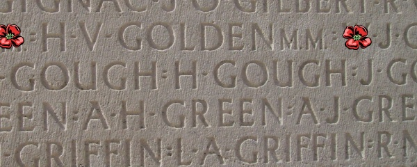 Inscription – Private Herbert Victor Golden is also commemorated on the Vimy Memorial ... Inscription - Vimy Memorial - August 2012 … Photo courtesy of Marg Liessens. Source: CVWM