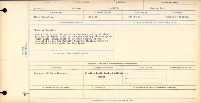 """""""Died of Wounds"""" Whilst taking part in operations in the vicinity of Aux-Noulette on August 21, 1917 he was severely wounded by an enemy shell, which burst in the road nearby. He was evacuated to No. 23 Casualty Clearing Station, where he succumbed to his wounds two days later."""