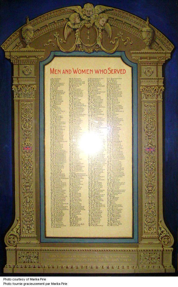 Honour Roll – WWI Roll of Service includes names of all the members of the Victoria-Royce Presbyterian Church who served in the war. 55 men died as a result of their war service. Photo by Marika Pirie via CVWM