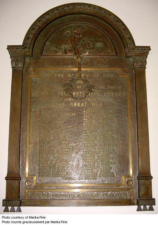 Commemorative Plaque – WWI Memorial Plaque located in the Victoria-Royce Presbyterian Church (est. 1885), 190 Medland St., Toronto, ON. Photo by Marika Pirie via CVWM