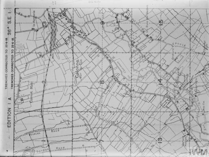 MAPS OF THE WESTERN FRONT (Q 17655B) Map of Calonne, Edition 1A, Sheet 36A, SE1. Copyright: © IWM. Original Source: http://www.iwm.org.uk/collections/item/object/205394084