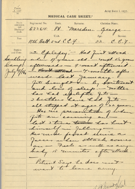 medical-report-july-1915-epilepsy-does-not-want-to-leave-army
