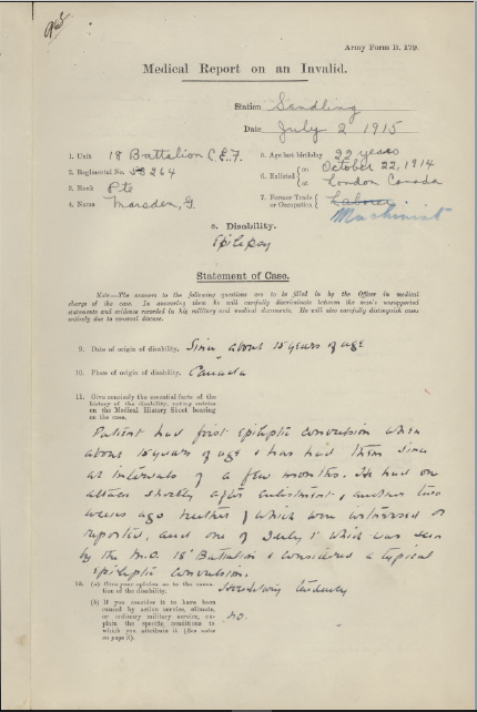 medical-report-of-an-invalid-page-1-important-report-recommends-release-from-army-but-serves-until-kia-at-somme