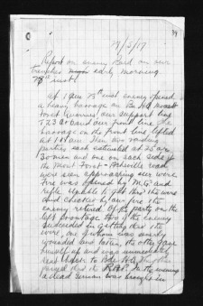 Page 1 of report from 18th Battalion to 4th Canadian Brigade regarding German Trench Raid on night of May 27/28, 1917.