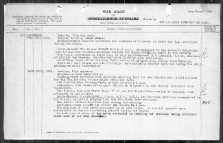 4th Canadian Infantry Brigade War Diary for July 18th, 1918 relating the taking of 3, not 2 prisoners, from the 18th Battalion by a German Raid. The 18th Battalion War Diary records only 2 soldiers taken prisoner.