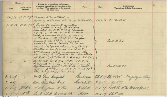 Charged with Desertion Entry in Service record for Joseph Ellison 53673