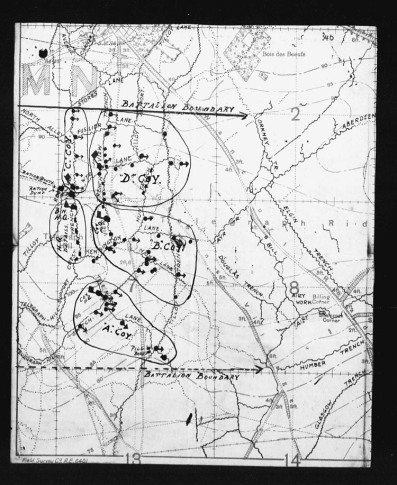 Map of Battalion positions at time of incident.