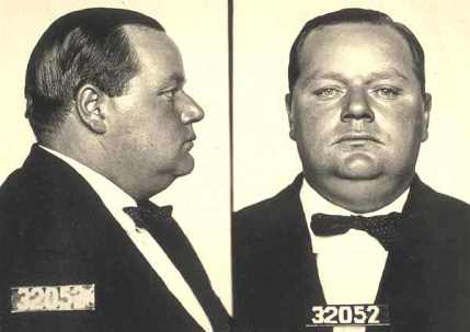 "Roscoe Conkling ""Fatty"" Arbuckle Mug Shot. Source: Wikipedia."
