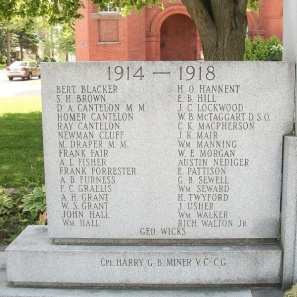 Memorial – Private Harold Oxley Hannent is also commemorated on the Memorial in Clinton, ON … First World War names … Photo courtesy of Marg Liessens. Via CVWM