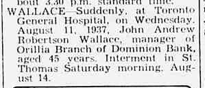 Death Notice Barrie Examiner Page 11 1937
