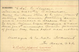 Reverse of same card outlining nature of Private Dickson's wound.