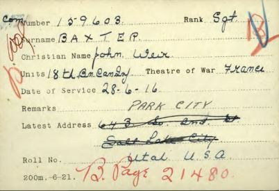 Per Eric Edwards service records. Showing addresses of this soldier.