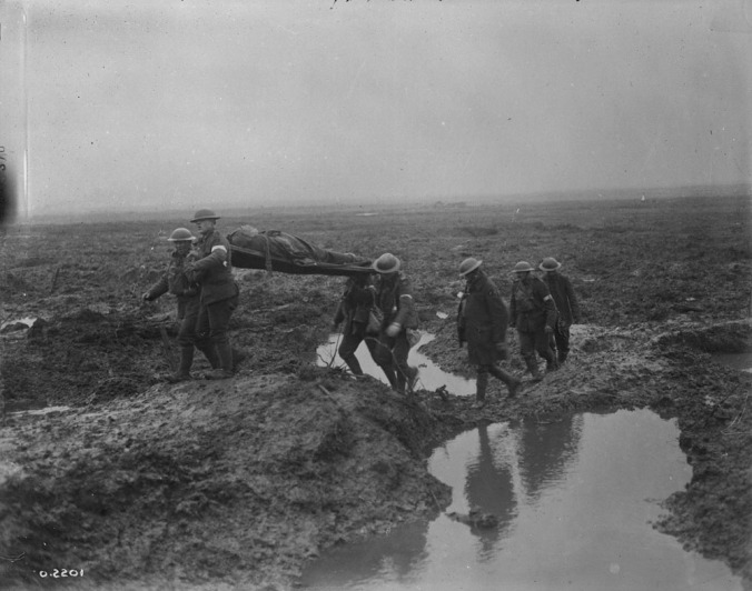 Wounded Canadians on way to aid-post during the Battle of Passchendaele.