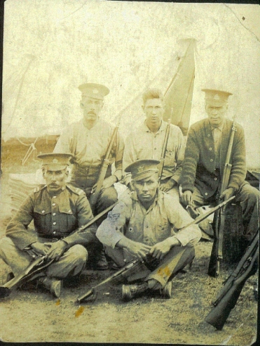 George Nawash is front row, left. Brother to Daniel. D. Mitchell, A. Joshua, J. Martin, G. Nawash, D. Signock. Source: Bruceremembers.org.