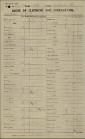 Form QMG DOS 2 Issue of Clothing and Necessaries for Private Reginald Adams reg no 406654 page 1