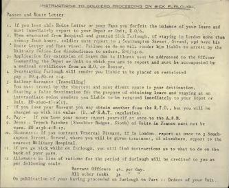 Instructions for Soldiers Proceeding on Sick Furlough per Reginald Adams 406654