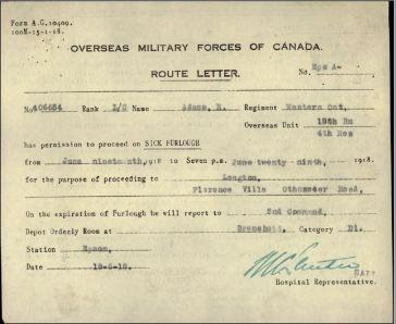 Route Letter per Reginald Adams 406654