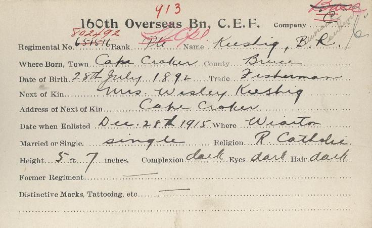 AX2012.103.001 - Keeshig, Bernard - enlistment card