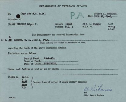 Department of Veterans Affairs Notification of Death EV Herbert 53988