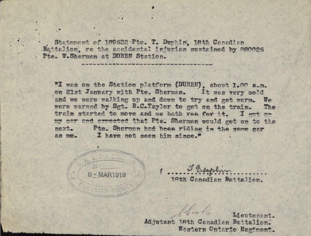 Statement by Private Tim Dauphin 189632 re accident WT Sherman
